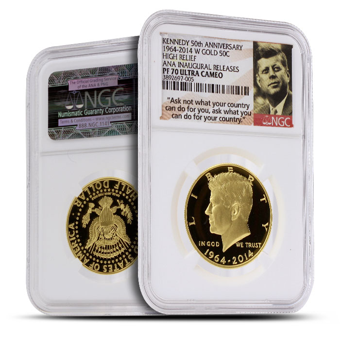 2014 24 kt Gold Kennedy 50th Anniversary 50C | ANA Inaugural Release NGC PF70 Ultra Cameo