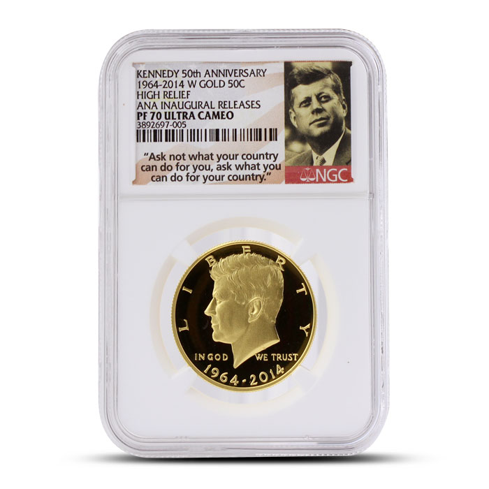 2014 24 kt Gold Kennedy 50th Anniversary 50C | ANA Inaugural Release NGC PF70 Ultra Cameo Obverse