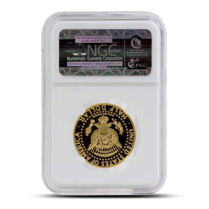 2014 24 kt Gold Kennedy 50th Anniversary 50C | ANA Inaugural Release NGC PF70 Ultra Cameo Reverse