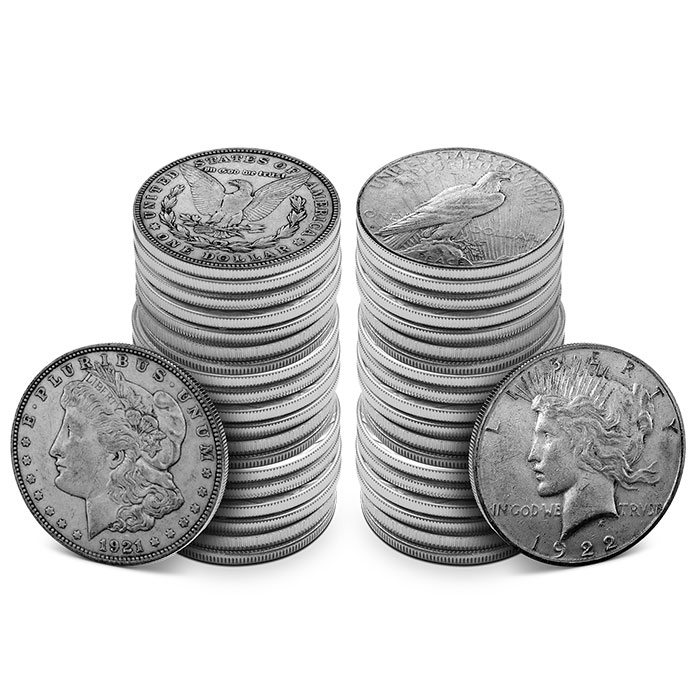 20 Coin Rolls | 1921 Morgan Dollar & 1922 Peace Dollar Rolls | Average Circulated