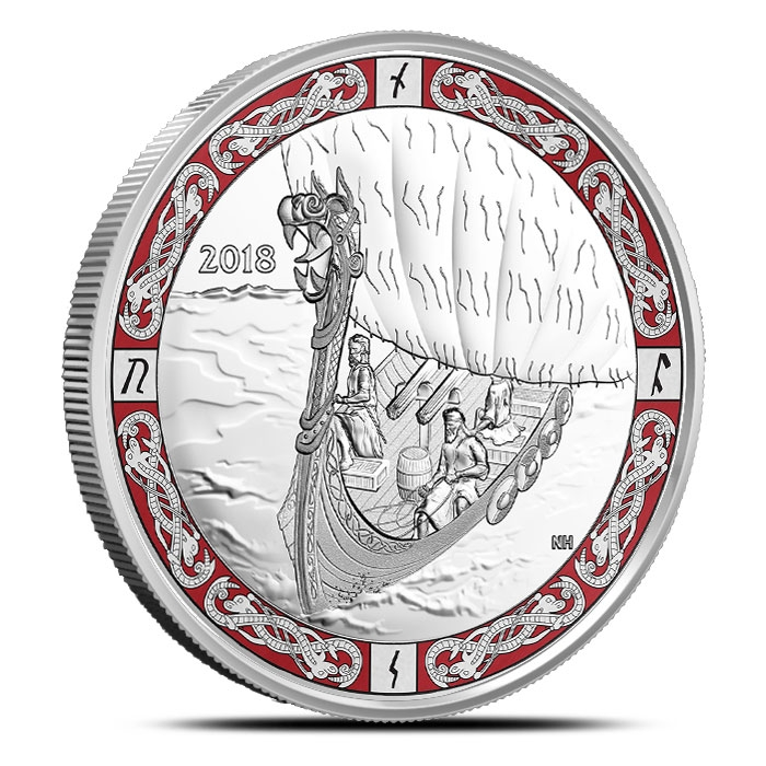 2018 Viking Voyage 1 oz Silver Coin | Norse Figureheads