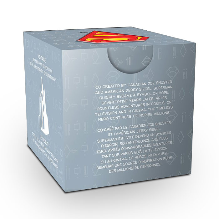 2013 Vintage Superman 1/4 oz Silver Coin Graphic Box Reverse