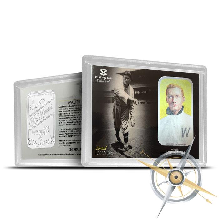 Walter Johnson one ounce Silver Bar | T-206 Baseball Greats