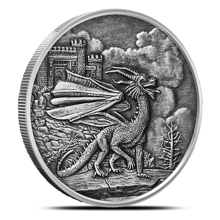 Welsh Red Dragon Antiqued 1 oz Silver | Celtic Lore Series