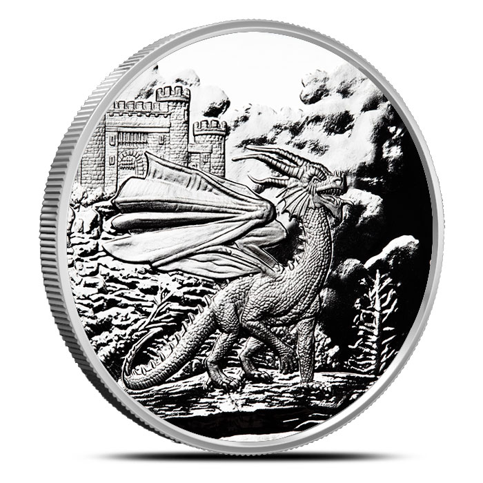 Welsh Red Dragon 1 oz Proof Silver | Celtic Lore Series