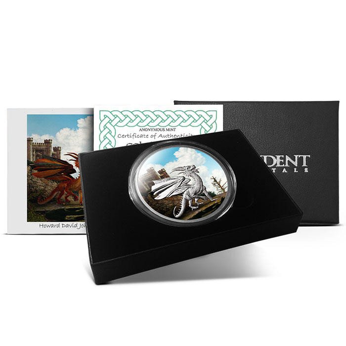 Welsh Red Dragon 5 oz Colorized Silver Round with Box & Certificate
