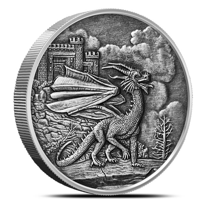 Welsh Red Dragon 5 oz Antique Silver   Celtic Lore Series