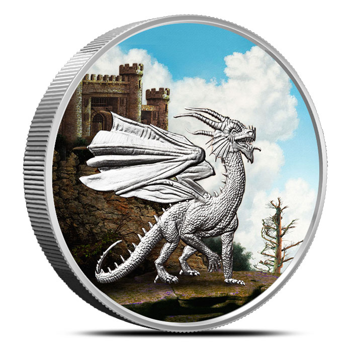 Welsh red Dragon 5 oz Colorized Silver