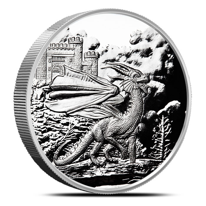Welsh Red Dragon 5 oz Proof Silver | Celtic Lore