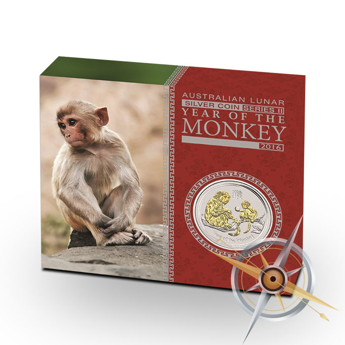Gilded 2016 Year of the Monkey Silver Coin
