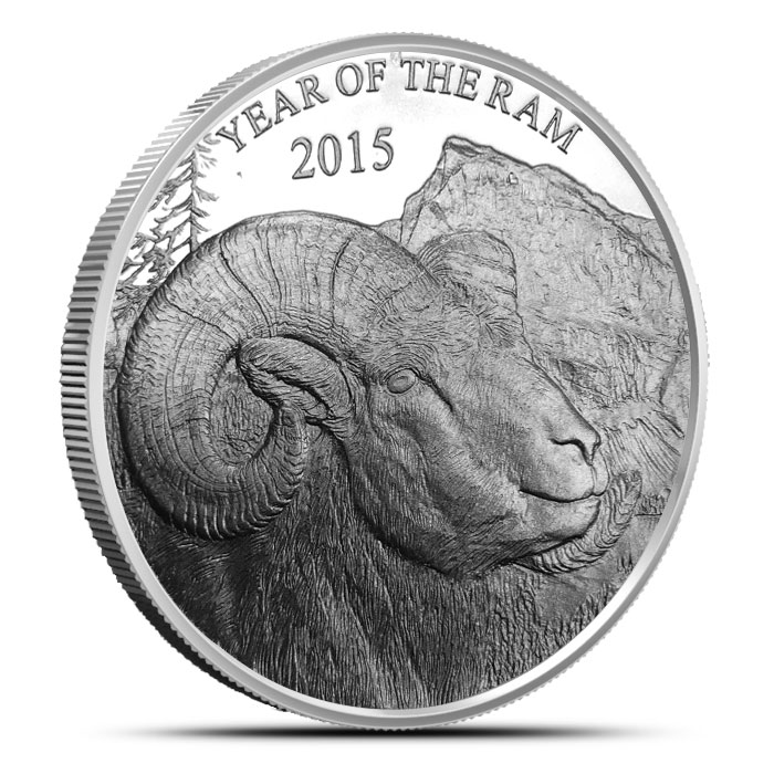 2015 Year of the Ram   1 oz Silver Round