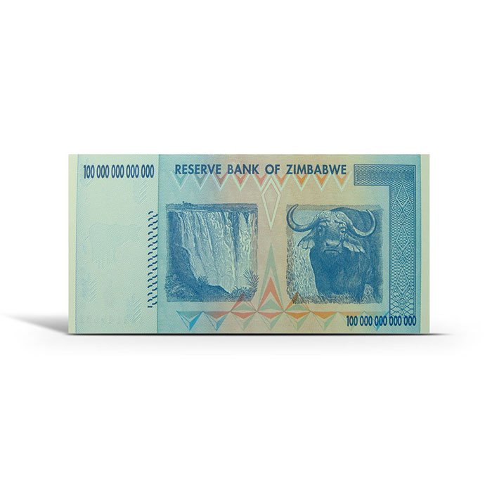 Zimbabwe 100 Trillion Dollar Uncirculated Note Reverse