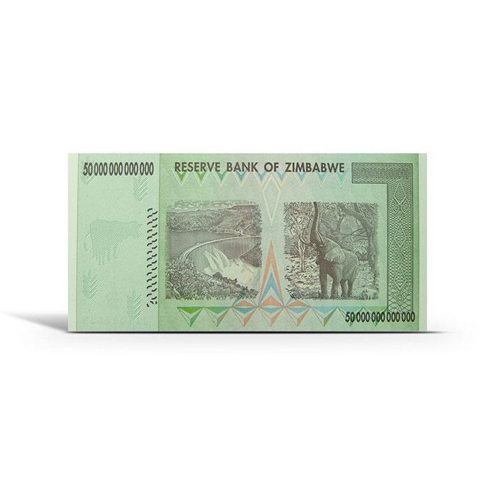 Zimbabwe 50 Trillion Dollar Uncirculated Note Reverse