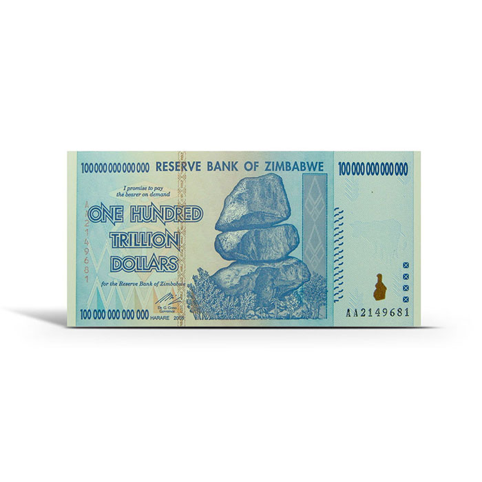 Zimbabwe 100 Trillion Dollar Uncirculated Note