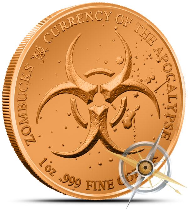 Zombucks Feast Dollar 1 oz Copper Round Reverse